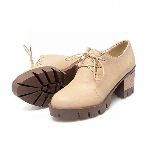 Tacchi Chunky Di Moda Delle Donne Di Latasa Allacciate Le Scarpe Oxford Beige