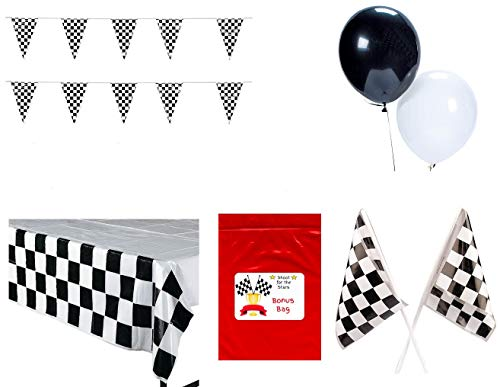 - Multiple Race Decorations Racing Party Pack Bundle Black & White Checkered (Tablecover, 100 ft Pennant Banner, Racing Finish Line Flags, Balloons & Bonus Bag)