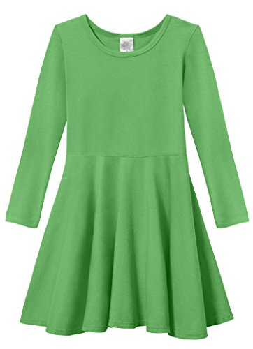 City Threads Big Girls' Super Soft Cotton Long Sleeve Twirly Skater Party Dress, Elf, 12 by City Threads