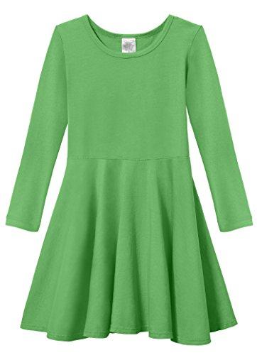 City Threads Big Girls' Super Soft Cotton Long Sleeve Twirly Skater Party Dress, Elf, 14