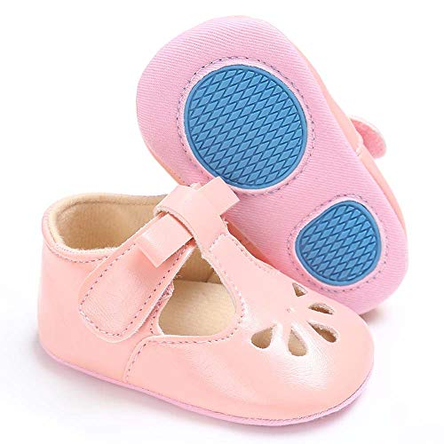 myppgg Baby Girls Mary Jane Flats with Bowknot Non-Slip Infant Sandals Toddler First Walkers Princess Dress Shoes (Pink,12-18 Months)