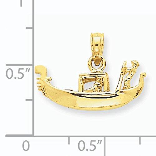 Poli Massif 14 Carats Pendentif Gondole 3D-Dimensions :  14 x 19 mm-JewelryWeb