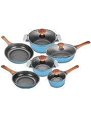 Nonstick Cookware Set 6 Pieces Die Casting Aluminum Cooking Pots and Pans Set Dishwasher Safe Kitchen Sets for Induction Stove