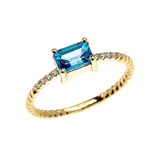 10k Yellow Gold Diamond and Emerald Cut Solitaire Blue Topaz Dainty Promise/Engagement Ring (Size (Blue Topaz Ring Free Ship)