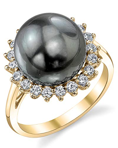THE PEARL SOURCE 18K Gold 12-13mm Round Genuine Black Tahitian South Sea Cultured Pearl & Diamond Sage Ring for Women