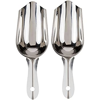 Stainless Steel Bar Ice Scoop 6 oz, Set of 2