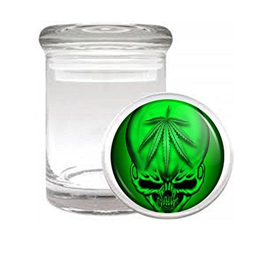 Medical Glass Stash Jar Vintage Marijuana Art S5 Air Tight Lid 3'' x 2'' Small Storage Herbs & Spices 420 Weed