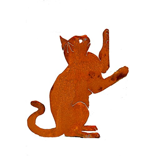 (Elegant Garden Design Upright Playing Cat, Steel Silhouette with Rusty Patina)