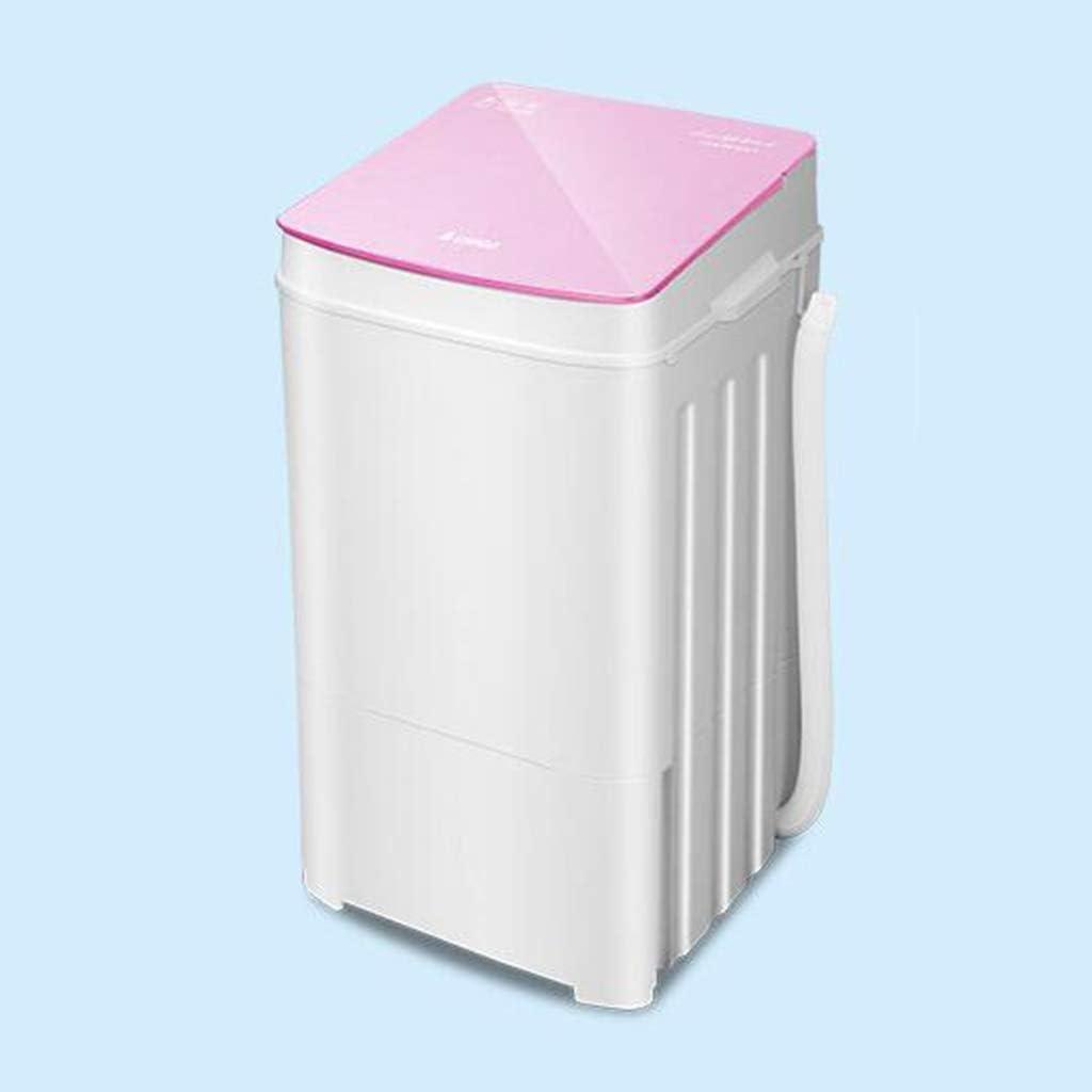 DINJUEN ミニ洗濯機小型単気筒寮、ドライ脱水半自動 (色 : Pink)