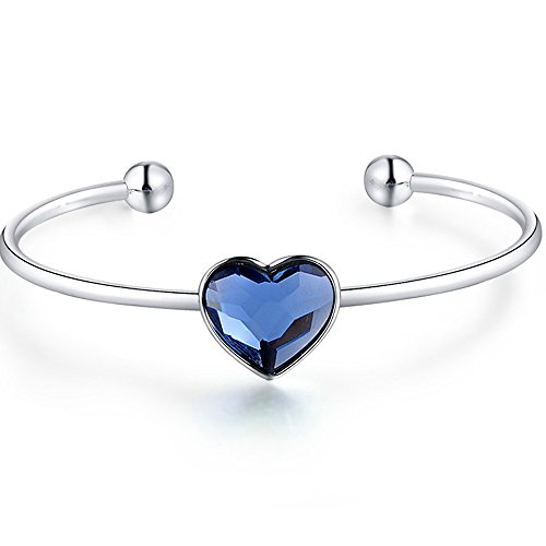 ZIOZIA Open End Bangle Love Heart Bracelet Made with Blue Swarovski Crystal Fine Jewelry for Women Gifts for ()