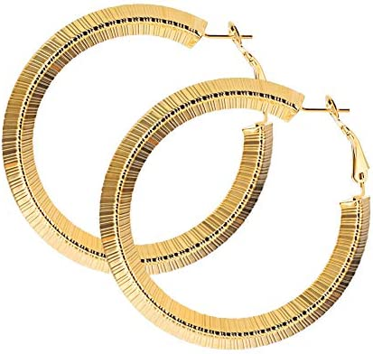 U7 Vintage Round Bamboo Grain Earrings 80 90's Party Jewelry