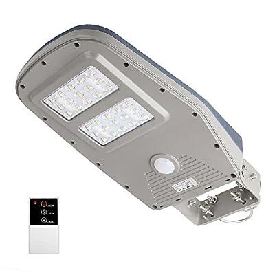 GBGS Solar Street Light Outdoor IP65 with Remote Control Wall Mount Solar Area Lighting Dusk to Dawn PIR Motion Sensor Courtyard Deck Night Lights , 30 LEDs 1000 Lumens