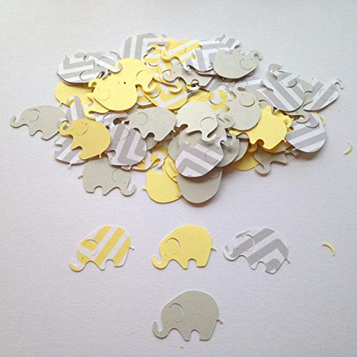 (100 Elephant Baby Shower Yellow Chevron Elephant Yellow Gray Elephant Confetti Elephant Cut Out Elephant Theme Baby Shower Yellow Elephant Gender Neutral Baby Shower)