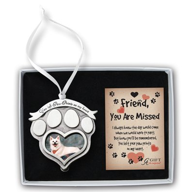 Cathedral Art CO843 Paw Prints Pet Memorial Photo Ornament, 2-1/2-Inch - Grey Cat Ornament