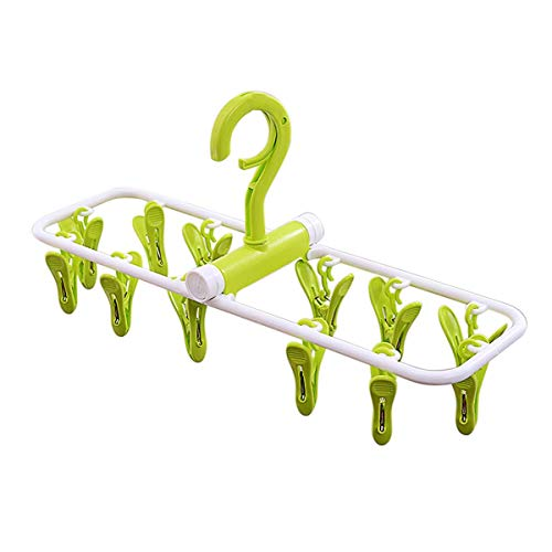 - Inoutdoorkit Folding Travel Clip & Drip Socks Hangers, Portable Plastic Clothes Underwear Laundry Drying Hanger Rack with 12 Clips for Home Or Outdoor FPH12 (Green)