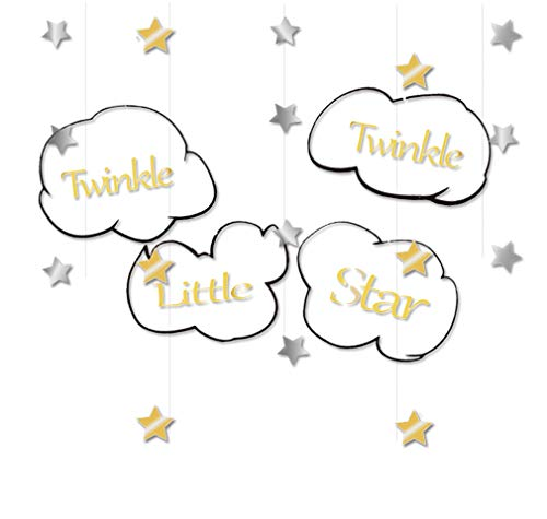 (Twinkle Twinkle Little Star Banner for Baby Shower Birthday Sparkling Gold and Silver)