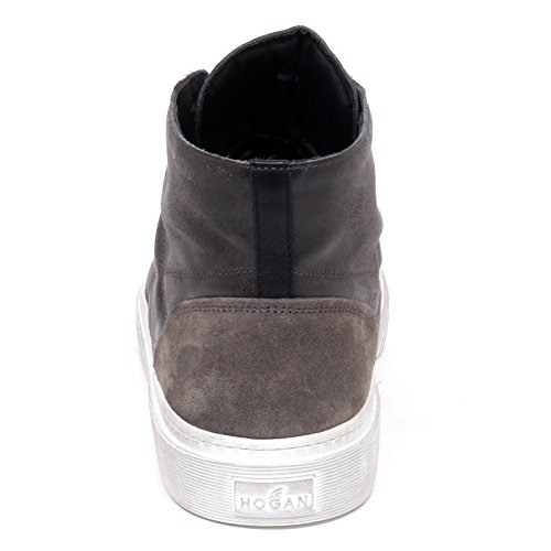 Hogan E0632 Sneaker Uomo Nero/Grigio H340 Hi Top H Stitching Shoe Man Grigio/Nero