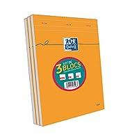 Oxford Lot de 3 Blocs Orange A4 agrafé non perforé 160 pages petits carreaux