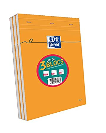 Oxford Lot de 3 Blocs Orange A4 agrafé non perforé 160 pages petits carreaux Hamelin 100107096