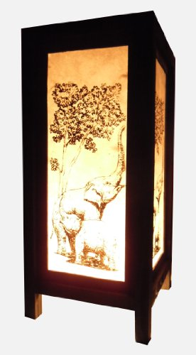 Thai Vintage Handmade Asian Oriental Family Elephant Bedside Table Light or Floor Wood Paper Lamp Shades Home Bedroom Garden Decor Modern Design from Thailand by Red berry Thailand Lanna Lamp