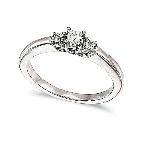 14kt White Gold 3 Stone Princess Cut 0.25ct Diamond Trellis - Cut Trellis Ring Diamond