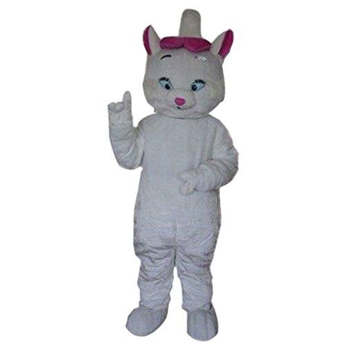 White Cat Mascot Costume Cartoon Halloween Party Dress Adult Size ()