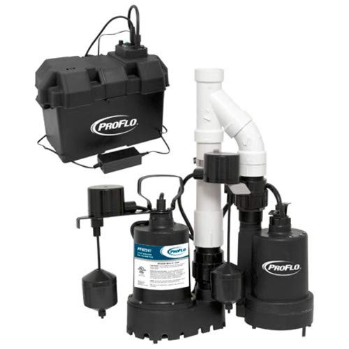 PROFLO PF92941 3/10 HP Cast Iron Submersible Sump Pump with Vertical Switch and 12 Volt Back Up Pump System 12 Volt Cast Iron Pump