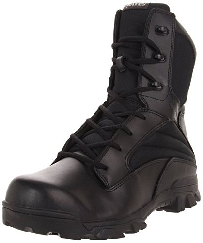 Bates Men's 8 Inch Leather Nylon Side Zip Uniform Boot, Black, 13 M US