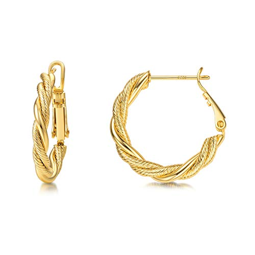 Hoop Earrings,14K Gold Plated Chunky Twisted Hoop Earrings for Women with 925 Sterling Silver Post