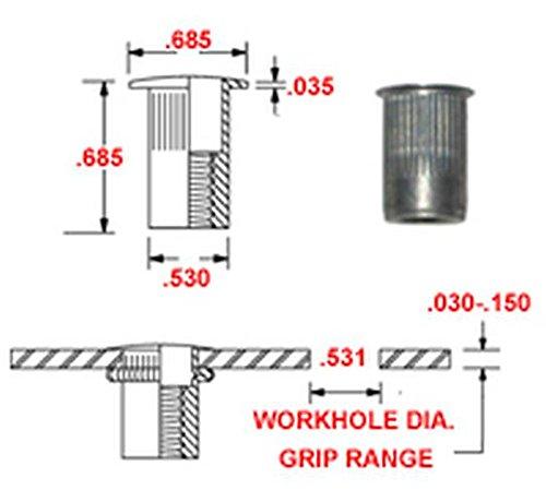 Plain Finish 8-32 x .020-.080 Grip Range Pack of 50 AKL8-32-80 Aluminum Thin-NUT Large Flange