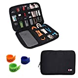 BUBM Universal Cable Organizer Electronics Accessories Case USB Drive Shuttle with Cable Tie (Medium-Black)