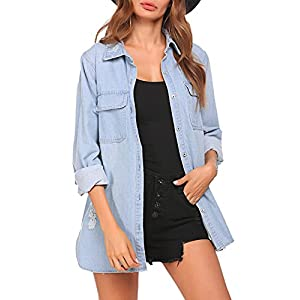 BEAUTEINE Women's Denim Jacket Long Sleeve Loose Distressed Lapel Jean Jackets