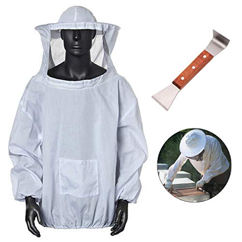 SUJING Professional White, Large Beekeeping, Bee Keeping Suit, Anti bee Suit Protective Beekeeper Cotton Beekeeping Jacket Veil Beekeeper Equip, Multi-Function Cutting Knife -