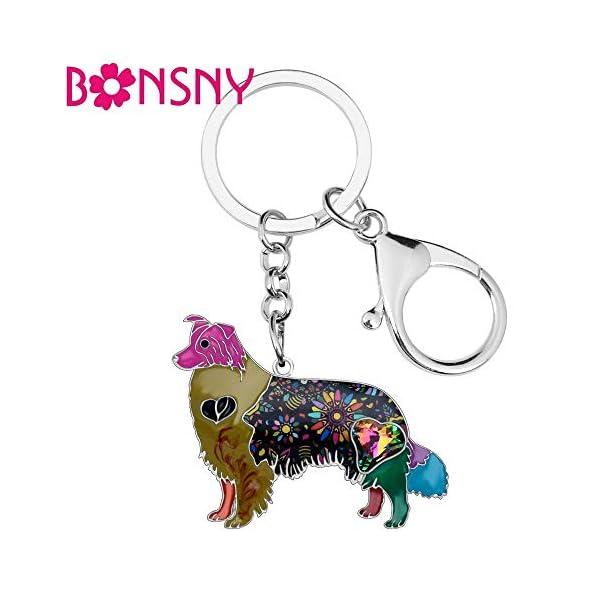 Collie Keychain Rhinestone Border Collie Key Chains Unique Dog Pendant Animal Pet Jewelry Bag Purse Charm for Women & Girls Valentine Gifts 2