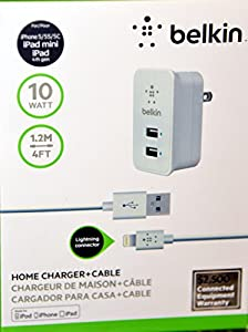 Belkin 2 Port Home and Travel Wall Charger for Iphone 5 5c 5s , Ipad Mini , Ipad 4th Gen with USB Lightning Connector - 2.1 AMP / 10 Watt Black by Belkin