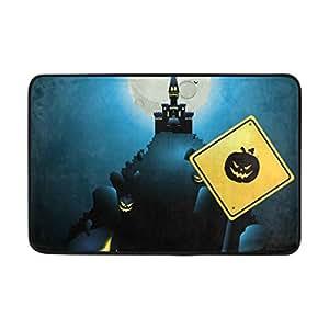 LORVIES Hallowen Night Doormat, Entry Way Indoor Outdoor Door Rug with Non Slip Backing, (23.6 by 15.7-Inch)