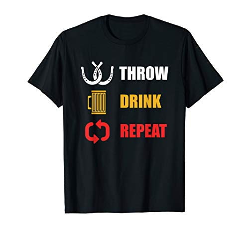 Horseshoe Pitching T-Shirt For Throwing Ringers & Beers ()