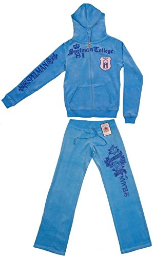 - Womens Blue Velour Spelman College Jaguars Hooded 2 Piece Track-Warm up Suit (Medium)