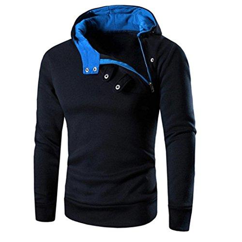 Hunzed Men Long Sleeve Hooded Shirt Hoodie Sweatshirt Casual Blouse Jacket Coat Outwear (Navy, XXL)