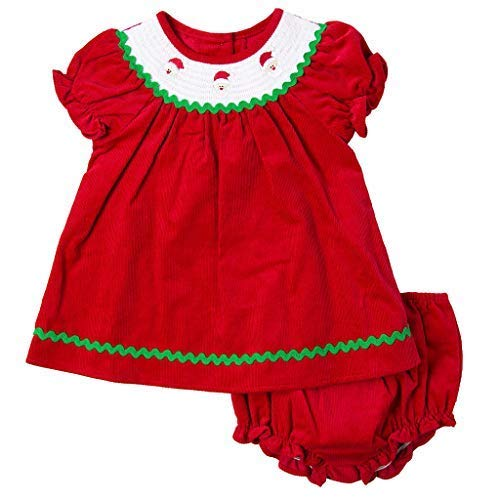 Good Lad Newborn/Infant Girls Red Corduroy Dress with Smocked Collar and Matching Corduroy Panty (12M)