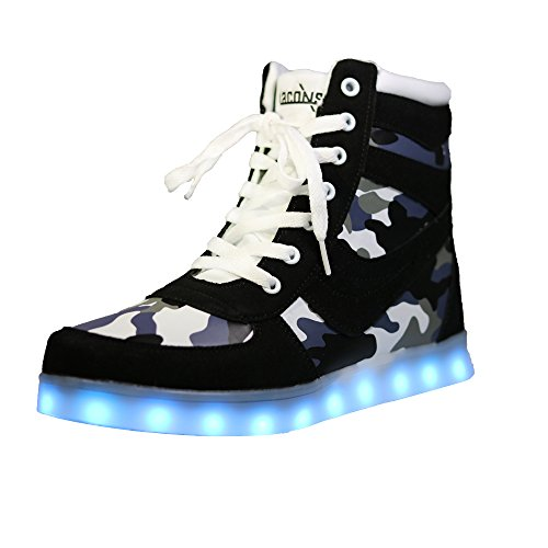 LACONSO High Top LED Shoes Light Up USB Charging Flashing Sneakers for Women Dancing Walking (6.5 US / 37 EU, Normal) (Cool High Tops Shoes)