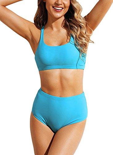 Arainlo Women's High Waist Bikini Set Solid Color Bathing Suit Adjustable Strap Two Piece Swimwear Sport Bikini Blue S