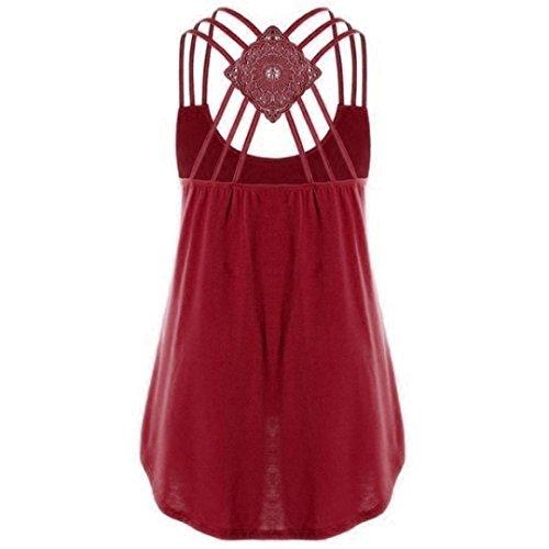 Tee sans Chemise Gilet Crop Couleur Dbardeur t des Retour Manche Grande Tank T QinMM Shirt Pure Rouge Ajour lgant Shirt Taille Tops Camisole Chic Femmes Bandages Haut wv1XRZPq