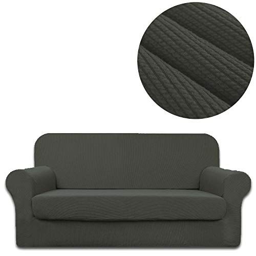 ANJUREN Sofa Loveseat Couch Chair Slipcover Cover with Separate Seat Cushion Cover 2 Piece 4 Seater T Cushion Sofa Slipcovers Large Stripes Stretch Living Room Furniture Slip Cover (XL Sofa, Gray) (Sofa Piece Cushion 4 T Slipcovers)