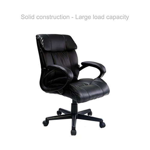 Executive Office Chair Ergonomic Posture Support Computer Desk Task Solid Construction Frame 360 Degree Swivel Comfortable PU Leather Heavy Padded Headrest Home Decor Furniture - Store Vancouver Frame