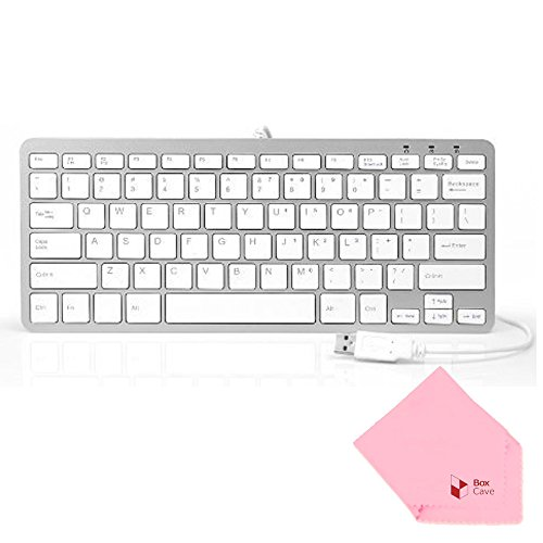 (Boxcave 78 Key Wired USB Mini Slim Keyboard for PC, Notebook, Laptop, Netbook, Windows 8 7 XP Vista (White,w/cable))