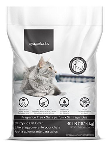AmazonBasics Clumping Cat Litter with Baking Soda, 40lb Bag