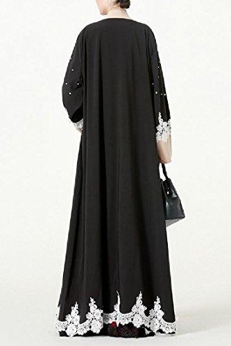 Abito Nero Caldo Pizzo Islamico Musulmano A Di donne Di Di Maxi Perforazione Abaya Coolred qpUwaSH