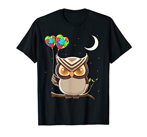 Autism Awareness Cute Owl Color Puzzles Heart Balloons T-Shirt