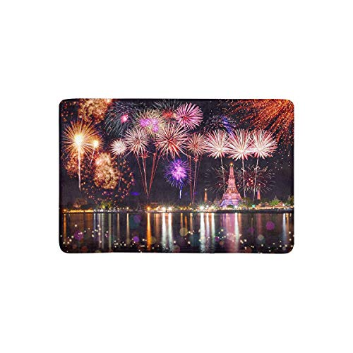 InterestPrint Firework Countdown Celebration Over Temple in Thailand Doormat Anti-Slip Entrance Mat Floor Rug Indoor/Outdoor/Front Door Mat Home Decor, Rubber Backing 23.6